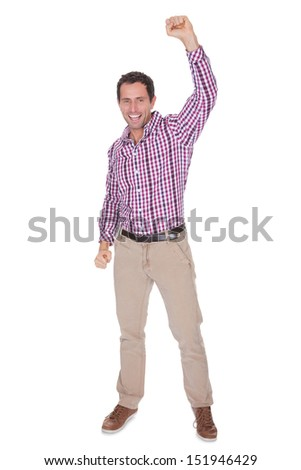 Portrait Of Young Man Cheering Isolated On White Background - stock photo