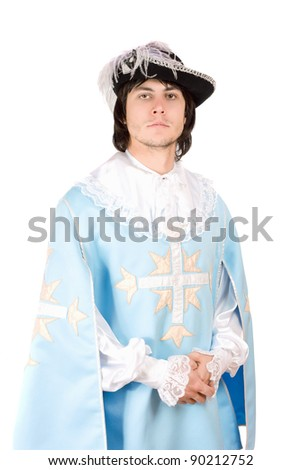 Portrait of young man dressed as musketeer. Isolated - stock photo