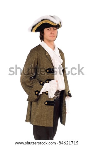 Portrait of young man in a historical costume. Isolated - stock photo