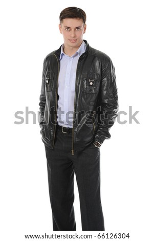 Portrait of young man in a leather jacket. Isolated on white background