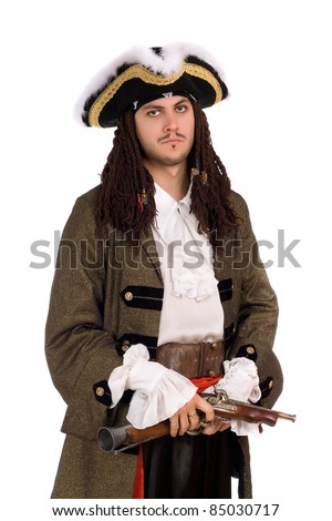 Portrait of young man in a pirate costume - stock photo