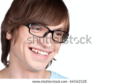 Portrait of young man in glasses  isolated on white background