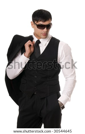 Portrait of young man in sunglasses on white background. - stock photo