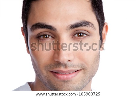 Portrait of young man isolated on white background. - stock photo
