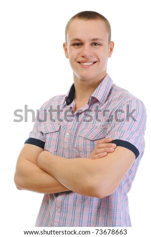 Portrait of young man. Isolated on white background - stock photo