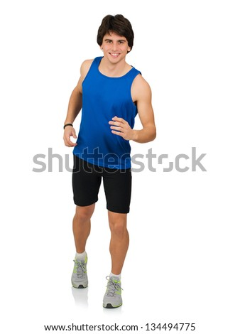 Portrait Of Young Man Running Isolated On White Background - stock photo
