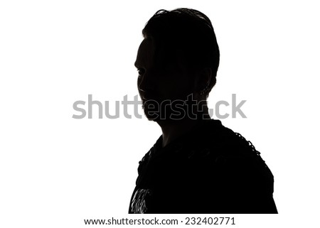 Portrait of young man's silhouette in profile on white background