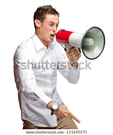 Portrait Of Young Man Shouting On Megaphone Isolated On White Background