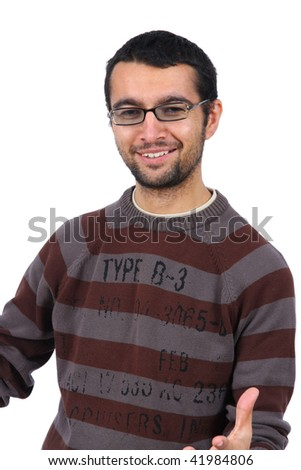 Portrait of young man smiling on white background