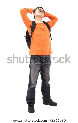 Portrait of young man stand with backpack  isolated on white background - stock photo