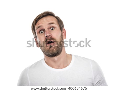 Portrait of young man surprised isolated on a white background - stock photo