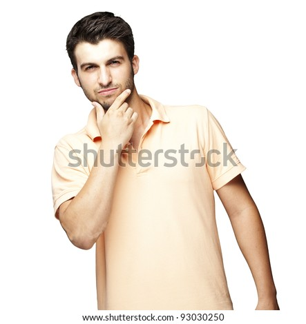 portrait of young man thinking against a white background - stock photo