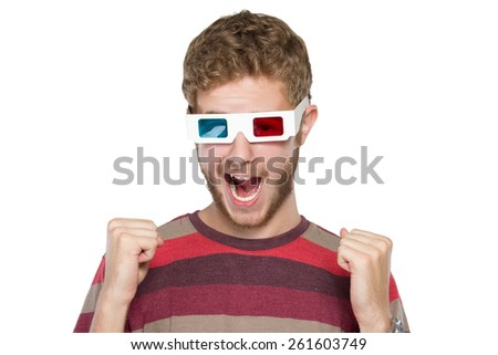 portrait of young man wearing 3d glasses - stock photo