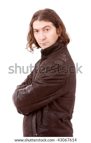 portrait of young man wearing winter cloths, isolated on white - stock photo