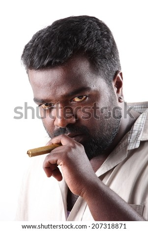 Portrait of young man with cigar . - stock photo