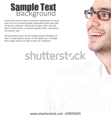 Portrait of young man with glasses smiling and looking toward copy-space. White background. - stock photo