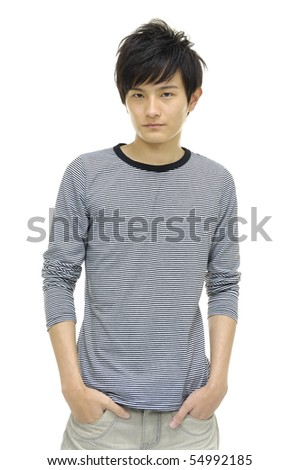 Portrait of young man with hands folded isolated