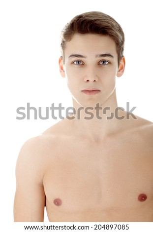 Portrait of young man with nude torso isolated on white background - stock photo