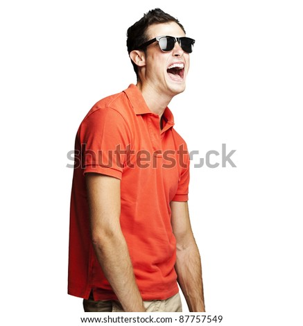 portrait of young man with sunglasses laughing over white background - stock photo