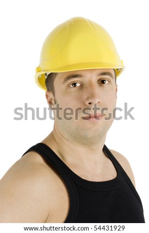 Portrait of young man worker with yellow hardhat isolated on white background