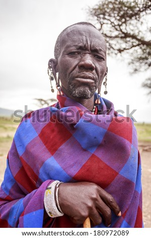 Portrait of  young  Masai  - stock photo