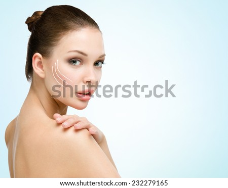 Portrait of young naked woman before a facelift. Concept of beauty and perfect skin - stock photo