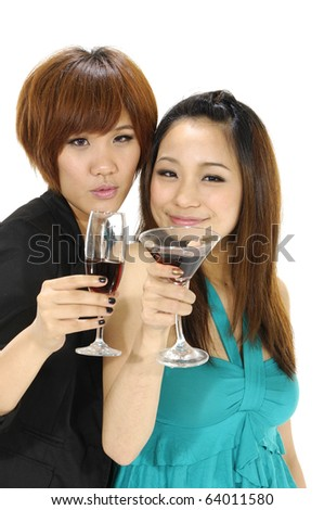 portrait of young nice couple celebrating some occasion - stock photo