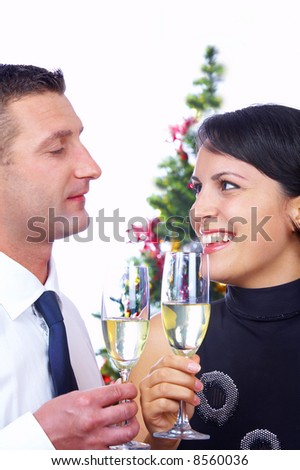 portrait of young nice couple celebrating some occasion