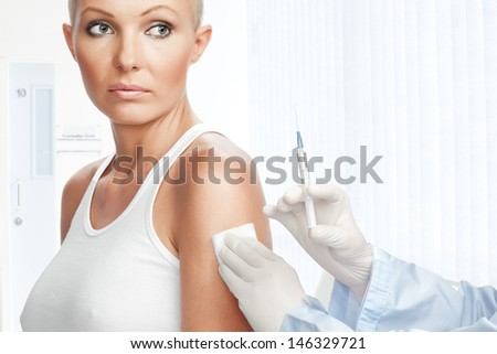Portrait of young nice woman on medical examination