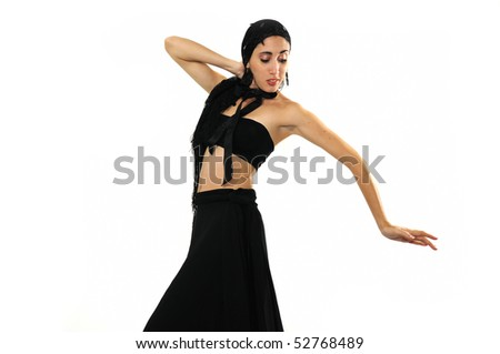 Portrait of young passionate hispanic flamenco dancer woman isolated on white - stock photo