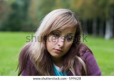 portrait of young pensive girl
