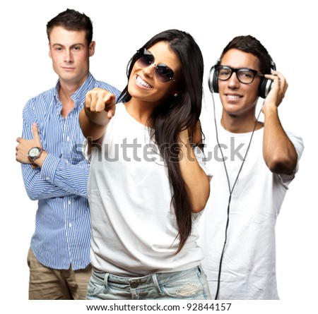 portrait of young people having a party over white background - stock photo