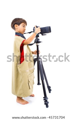 Portrait of Young Photographer on white background . - stock photo