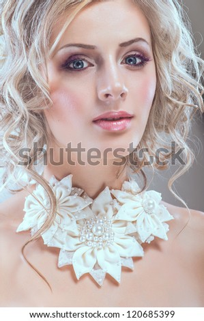 Portrait of young pretty bride - stock photo