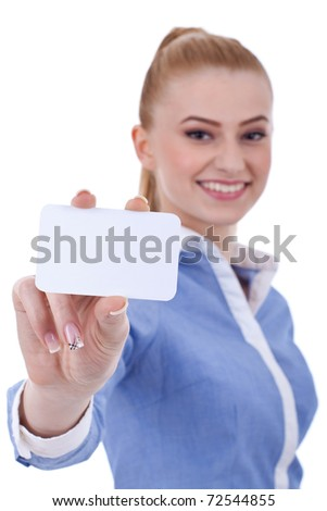 Portrait of young pretty business woman holding blank business card - stock photo