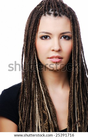 Portrait of young pretty woman with dreadlocks - on white - stock photo