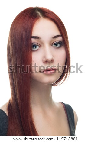 portrait of young red-haired woman isolated over white background