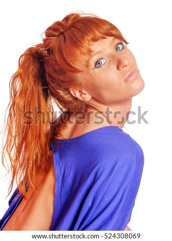 Portrait of young redhead woman with freckles isolated on white