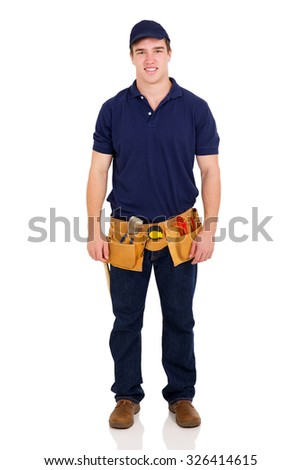 portrait of young repairman isolated on white background