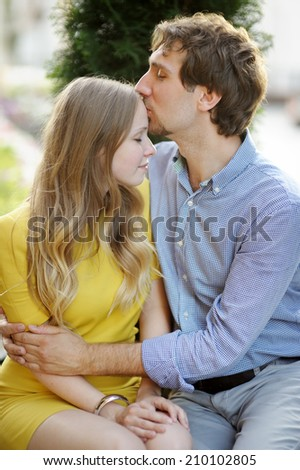 Portrait of young romantic couple  - stock photo