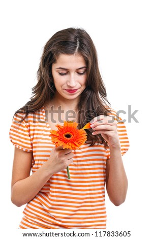 Portrait of young romantic girl falling in first love - stock photo