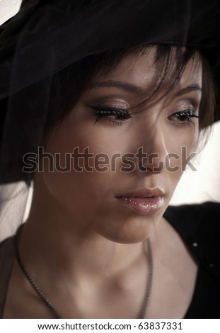 Portrait of young sad lady. - stock photo