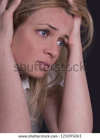 portrait of young, sad women - stock photo