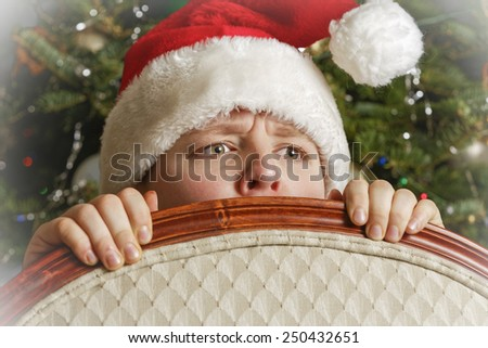 Portrait of Young Santa during Christnas Eve - stock photo