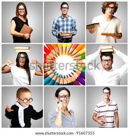 portrait of young scientific students collection - stock photo