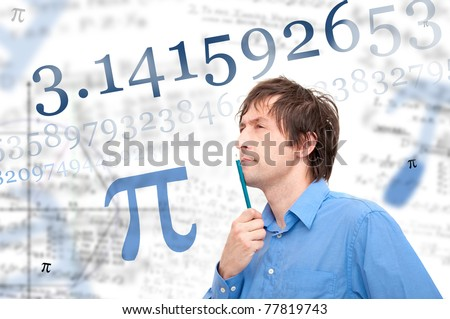 Portrait of young scientist calculating Pi number. - stock photo