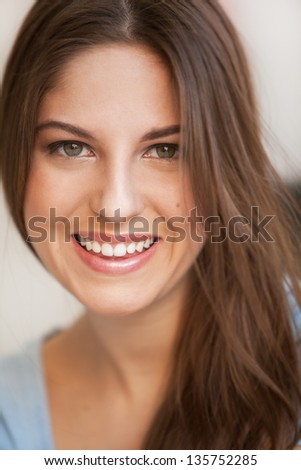 Portrait of young sensual caucasian woman - stock photo