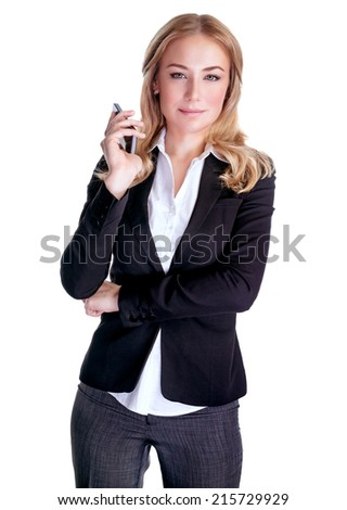 Portrait of young serious female speaking on mobile phone, isolated on white background, business people using portable device, communication concept  - stock photo
