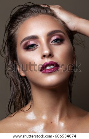 Professional Make Up Artist: Portrait Young Sexy Model Professional Make Stock Photo