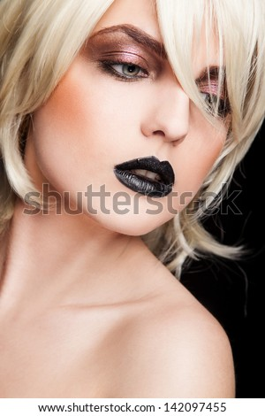 portrait of young sexy woman with black chubby lips - stock photo